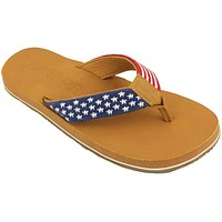 Men's Old Glory Needlepoint Flip Flops in Red White and Blue by Smathers & Branson