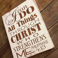 "Scripture Sign, Kitchen Sign ""I can do all things through Christ who strengthens me"" - typograpy subway art style handpainted sign"