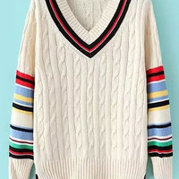 V Neck Striped Long Sleeve Knit Sweater