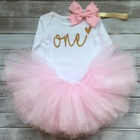 Baby Girl One Year Birthday Outfit