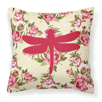 Dragonfly Shabby Chic Yellow Roses  Fabric Decorative Pillow BB1062-RS-YW-PW1414