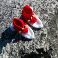 Christmas Santa Knitted Slippers Hand knitted female slippers gift for woman  house shoes Women's Slippers