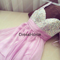 Short Purple Homecoming Dress - beading Homecoming Dresses / Prom Dress / Purple Prom Dress / Short Prom Dress
