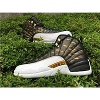 "Air Jordan 12 ""Wings""Gold black/white Basketball Shoes 36---47"