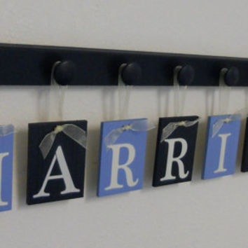 Navy Blue Nursery Wall Set, Baby Boy Name Plates in Light Blue and Navy Custom for HARRISON and 8 Wooden Pegs Navy, Personalized Name Signs