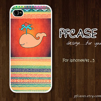 PINK Whale with abstract Pattern : Handmade Case for Iphone 4/4s , Iphone 5 Case Iphone