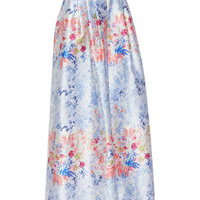 Cap-Sleeve Structured Top & Floral-Print Ball Skirt