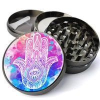 Hamsa Hand Of Fatima Deluxe Metal 5 Piece Herb Grinder With Fine Screen - The Best Kitchen Spice and Herb Grinder For Sale