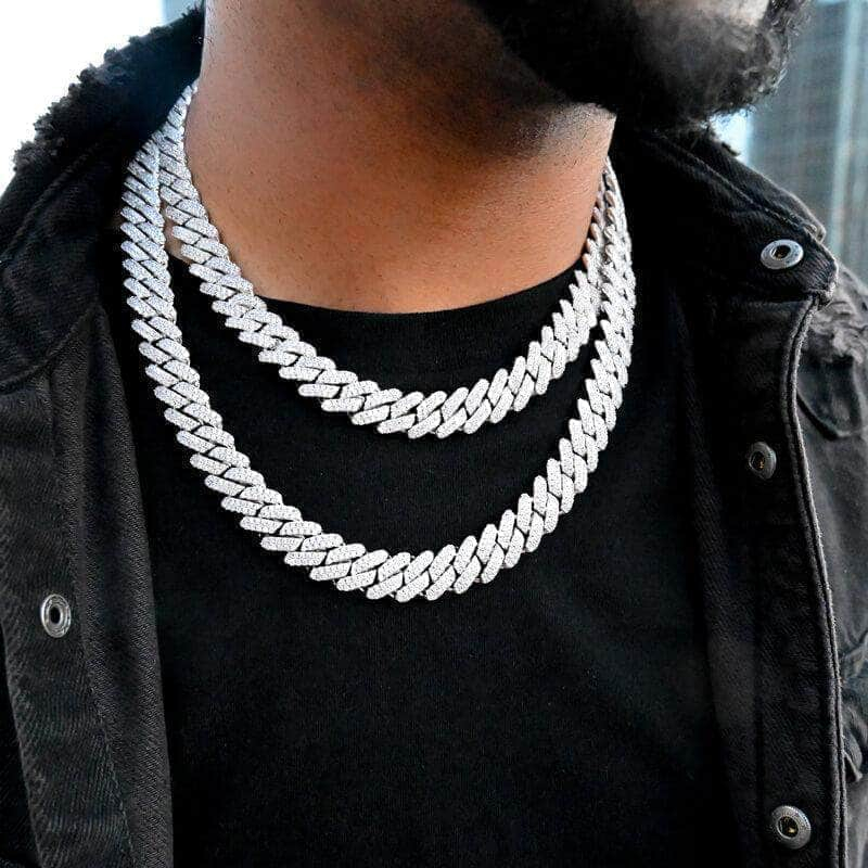 Image of Diamond Prong Cuban Link Choker (12mm) in White Gold