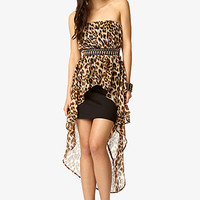 FOREVER 21 Strapless Leopard Print High-Low Dress Black/Taupe