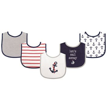 Luvable Friends Unisex Baby Cotton Terry Drooler Bibs with PEVA Back, Boy Nautical, One Size