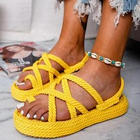 New ladies personality hemp rope platform sandals women shoes