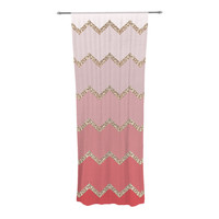 "Monika Strigel ""Avalon Coral Ombre"" Pink Chevron Sheer Curtain - Outlet Item"