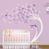 """Baby Nursery Wall Decals - White Tree Wall Decal - Tree Wall Decals - Large: approx 82"""" x 101"""" - K021"""