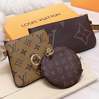 LV  Louis Vuitton New fashion monogram leather round wallet purse handbag three piece suit bag