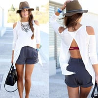 SIMPLE - Trending Fashion Women Casual Off Shoulder Round Necked Split T-shirt Top b4617