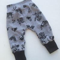 Baby Harem Pants - Baby Harem Shorts - Baby Leggings -Toddler Harem Pants Gray and Black Tattoo Print. Trendy, Hipster, Punk Baby Gift