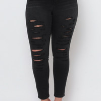 Plus Size Distressed Ripped Skinny Jeans- Black