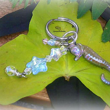 Seahorse Key Chain Key Ring,Key Accessories,Cool Car Accessory,Sea Animal,Charm Beach Ocean Creature Key Ring, Direct Checkout,Ready 2 Ship,