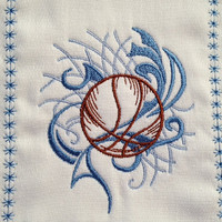Boys basketball burp cloth in brown and blues. Can be personalized for an extra charge.