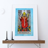 Tarot Print The Hierophant Retro Illustration Art Rider Print Vintage Giclee on Cotton Canvas or Paper Canvas Poster Wall Decor