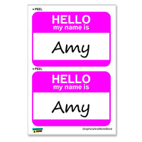 Amy Hello My Name Is - Sheet of 2 Stickers