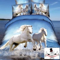 3D Printed Animal Horse Bedding Set and Quilt Cover Design 2