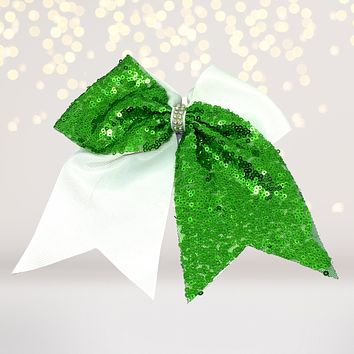 Sequin and White Cheer Hair Bow, Sequin Cheerleader Ponytail
