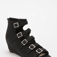 Urban Outfitters - Deena & Ozzy Stacked Buckle Peep-Toe Wedge
