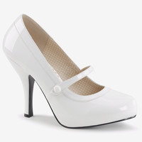 "Pin Up 01 Mary Jane Pump 4.5"" Heel White Patent"
