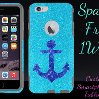 "iPhone 6 OTTERBOX Case - Otterbox Commuter Glitter Case for 4.7"" iPhone 6 - Frost/Grey Marine Anchor Glitter Cute New iPhone 6"