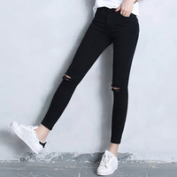 Youth Students Slim Fit Ripped Denim Trousers Pant
