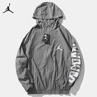 Jordan New fashion letter people hooded print couple long sleeve coat windbreaker Gray