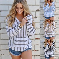 Autumn Winter New Women Clothes Fashion Tops with Hooded Striped T Shirts Loose Blouse RF0161