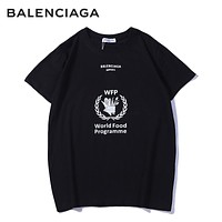 Balenciaga Summer New Fashion Letter Print Women Men Leisure Top T-Shirt Black