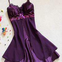 Women Sexy Silk Satin Night Gown Sleeveless Nightdress Lace