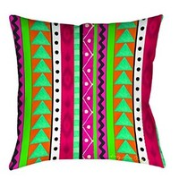 Thumbprintz Square Throw Pillow, 16-Inch, Striped Boho Medallion