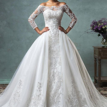 2016 New Fashion Long Sleeves Wedding Dresses with Detachable Train Lace Applique Off the Shoulder 3 in 1 Unique Bridal Gowns