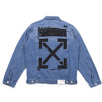 OFF-WHITE Tide brand 2019 new arrow graffiti denim jacket blue