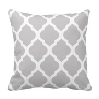 Silver Grey & White quatrefoil throw pillow