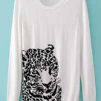 White Leopard Print Knitted Long Sleeve Sweater