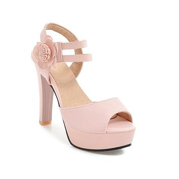 Peep Toe Flower High Heels Platform Sandals Summer Shoes 8173