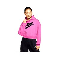 Nike Women's Icon Clash Velcro Logo Fleece Hoodie Cosmic Fuchsia