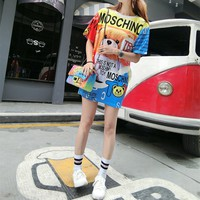 """Moschino"" Fashion Casual Cute Multicolor Cartoon Bear Letter Print Loose Short Sleeve T-shirt Mini Dress"