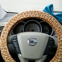 Giraffe Steering Wheel Cover with Matching Teal Bow by BeauFleurs