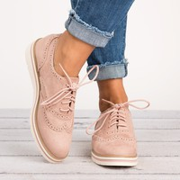Lace Up Perforated Oxfords - Mauve