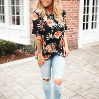 That's What I Like Floral Top (black)