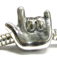 Queenberry Sterling Silver I Love You Hand Sign European Style Bead Charm