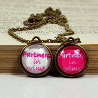 """Tiny """"Partners In Crime"""" Necklaces, BFF Matching Necklaces, Best Friends Jewelry, Glass Dome Resin Jewelry"""
