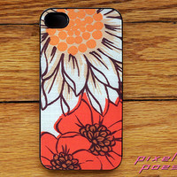 Iphone Case Retro White Orange Floral Image Iphone 4, 4s 5 or Samsung Galaxy S 3